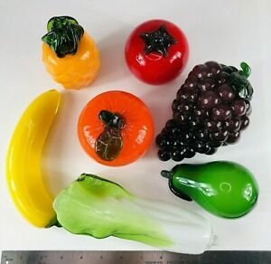 Vintage Murano Style Art Glass Priced Each, Hand Blown Fruits & Vegetables Large