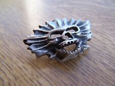 Skull Badge Pin Pewter Biker Hand Made Motorcycle Gothic Metal Lapel FREE POST
