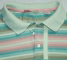 TED BAKER POLO SHIRT SHORT SLEEVE MULTI GREEN PINK BLUE STRIPED DISTRESSED 3 M