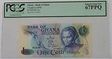 2.1.1976 Bank of Ghana 1 Cedi Note SCWPM# 13c PCGS 67 PPQ Superb Gem New