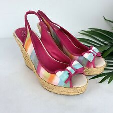 COACH Pink Blue Rainbow Stripe Wedge Heels Shoes Sz 9M Grace Slingbacks
