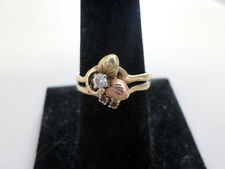 """14k yellow and rose gold """"diamond and leaves"""" ring. Size 9"""