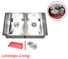 """32"""" Stainless Steel Zero Radius Double Bowl (50/50) Kitchen Sink"""