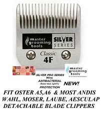 MASTER GROOMING TOOLS Silver 4F (4FC) BLADE*Fit Oster A5,Many Andis,Wahl Clipper