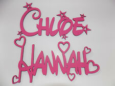 Personalised DISNEY style name plaque sign - PINK with hearts or stars wall/door