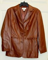 Preston & York Women's Jacket Blazer M Brown Soft Lamb Skin Button Front Leather