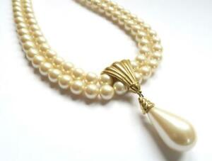 VINTAGE 1970s RICHELIEU DOUBLE STRAND FAUX SIMULATED PEARL NECKLACE