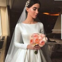 UK Princess White/ivory Long Sleeve Satin A Line Bridal Wedding Dress Size 6-20