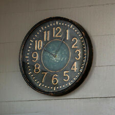 Rustic Metal Wall Clock Round Black Distressed