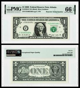 REPEATER SERIAL # 3168 3168  2009 $1  FR Note ~ PMG GEM UNC 66 EPQ