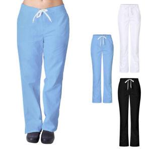 Womens High Waist Elastic Drawstring Medical Nursing Scrubs Uniform Trousers