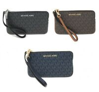 Michael Kors Jet Set Travel Large Top Zip Signature Leather Wristlet Clutch