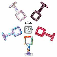 Silicone Luminous Nurse Watch Clip on Pocket Fob Watch with 5 Replacement Covers