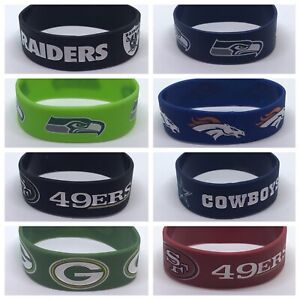 1 (One) NFL Football Silicone Wristband Bracelets Choose Your Team Free Shipping