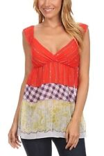 Women's Summer Chiffon Tunic Top Printed Sleeveless Blouse w/ Smock Back SMALL