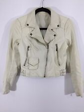 Womens White Leather Studded Motorcycle Side Zip Jacket