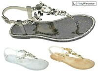 Jelly Flat Sandals Gems Stones Tbar Ankle Strap Shiny Summer Shoes Womens Ladies
