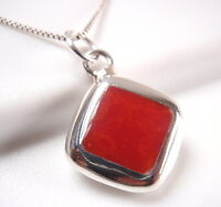 Reversible Red Coral and Mother of Pearl 925 Sterling Silver Square Pendant