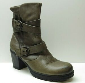 Born b.o.c Brown Leather Mid Calf Side Zipper Ankle Dress Boots 10