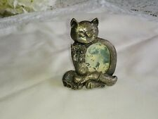 CUTE CAT SMALL PEWTER LOOK PHOTO FRAME