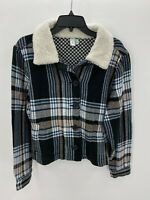 Susina Womens Black Plaid Jacket Ivory Faux Shearling Collar Coat Size Large L