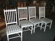 Chairs 4 Tropical Chippendale Island Dining Vintage Antique White Painted STO