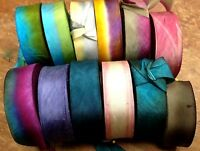 "SILK 1"" RIBBON on the BIAS HANAH Made in USA 1yd Hand Dyed"