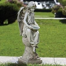 "21"" Solar Angel Seated on Pedestal Bird Feeder Birdbath Garden Yard Decor 66339"