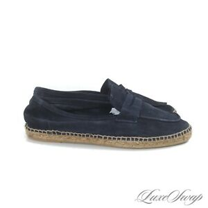 Castaner Made in Spain Ink Midnight Blue Unlined Suede Rope Espadrilles Shoes 43