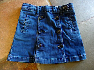 Country Road Kids Size 06 Blue Denim Button Up Front Skirt Adjustable Waist