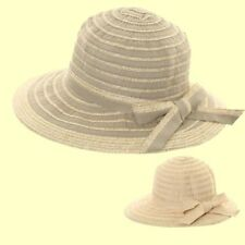 Ladies Large Brim Straw Sun Hat Packable Cloche Shape with bow Ladies Travel Hat