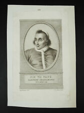 Pape Pie VII Pope Papa gravure c1800 religious print A G DESNOYERS L P Simon
