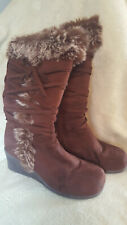 Ladies 'Groove' Size 8M Brown Wedge Heel Lace Zip Lined Boots Faux Fur
