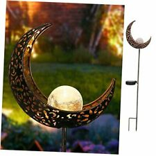 New listing Garden Solar Lights Pathway Outdoor Moon Crackle Glass Globe Stake Metal