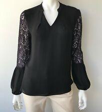 Elie Tahari Silk Lace Blouse Black Size Small Top