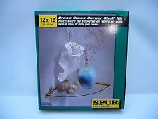 "SPUR Shelving 12""X12"" corner shelf. Brass & Glass New in box Bath shelf"