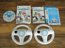 Nintendo Wii Mario Kart Game and 2 Wheel Bundle Lot