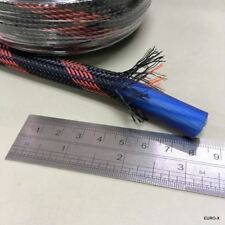 10M x 10mm Black Red Expandable Braided Cable Sleeving Wire Protection Net #gtn