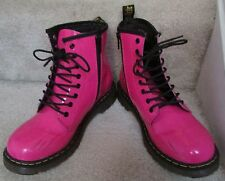 Dr Martens Ladies Delaney Boots in Hot Neon Pink Patent Leather Size 5 EUC