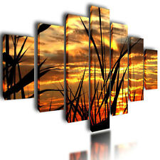 HUGE EXTRA LARGE CANVAS PICTURES WALL ART ORANGE SKY SPLIT MULTI PANEL IMAGE 80""