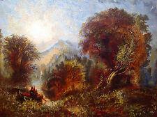 Peter Paul Pugin oil on canvas American wooded landscape Native American art
