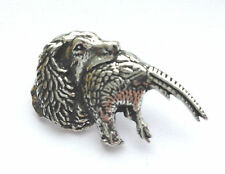SPANIEL AND PHEASANT Hand Made in UK Pewter Lapel Pin Badge