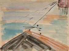 Werner GISEVIUS (XX) Bauhaus / Gouache & aquarelle papier / Sixties Années 60
