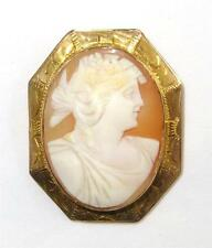 Antique Shell Cameo Brooch Goddess Ceres Etched 10K Gold Hexagon Bezel Frame