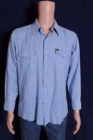 VTG '70s Wrangler blue chambray pearl snap long sleeve Men's western shirt L