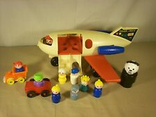 Vintage 1970 Fisher Price Little People Family Fun Jet Airplane #183 & 9 People