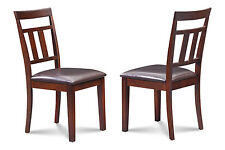 SET OF 4 DINETTE KITCHEN DINING SIDE CHAIR WITH  FAUX LEATHER SEAT IN MAHOGANY