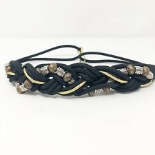 Women's Vintage Black Belt Braid Gold Silver Bronze Black Braid Cord Belt 1980's
