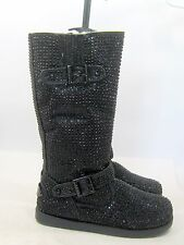 new ladies Black Rhinestone Winter Mid-Calf Boot sexy Side Button Size  7