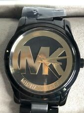 Women's NIB Michael Kors MK6057 Runway Big Logo Black & Gold Ion Watch